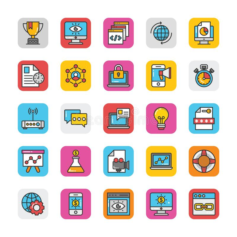 Digital and Internet Marketing Vector Icons Set 2 stock illustration