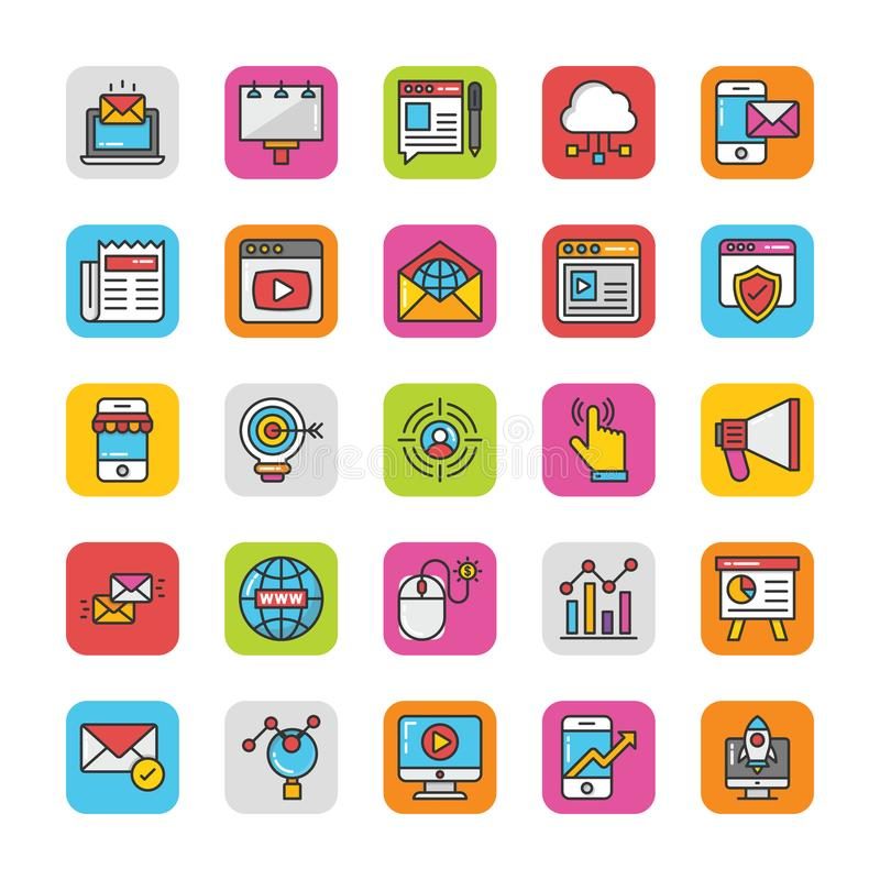 Digital and Internet Marketing Vector Icons Set 1 stock illustration