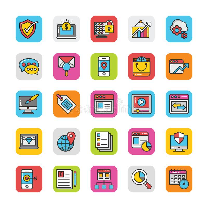 Digital and Internet Marketing Vector Icons Set 4. Here is a set of Digital and Internet Marketing Vector Icons that are great for decorating Websites stock illustration