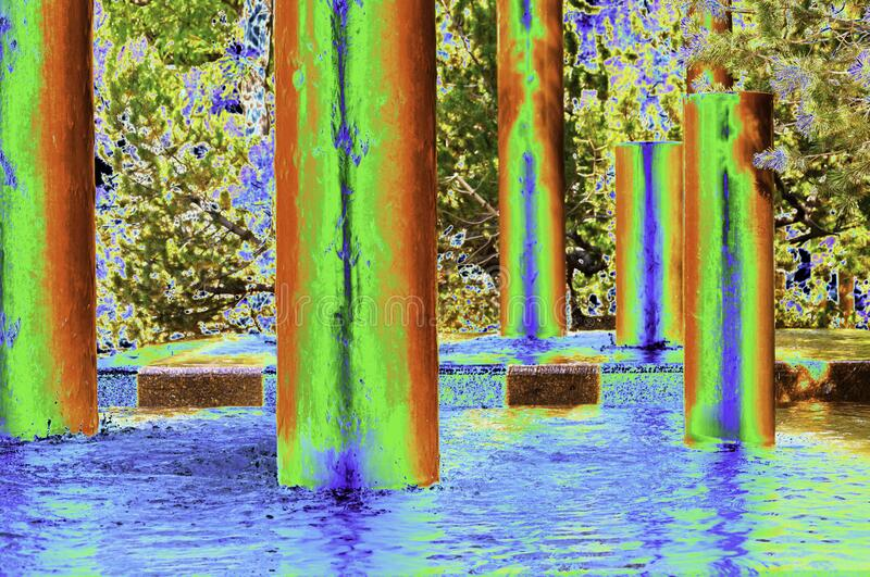 A color solarization of Peavey Plaza Downtown Minneapolis, Minnesota. Here is a special effect known as color solarization. The location is the Peavy Plaza stock photography