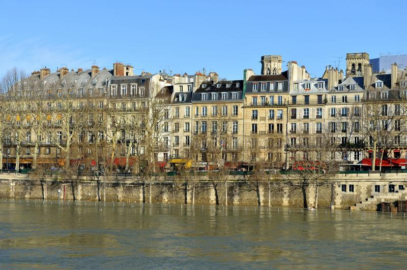 Along the Seine - Paris. Here a special view along the Seine during the recent flood of the river royalty free stock photo