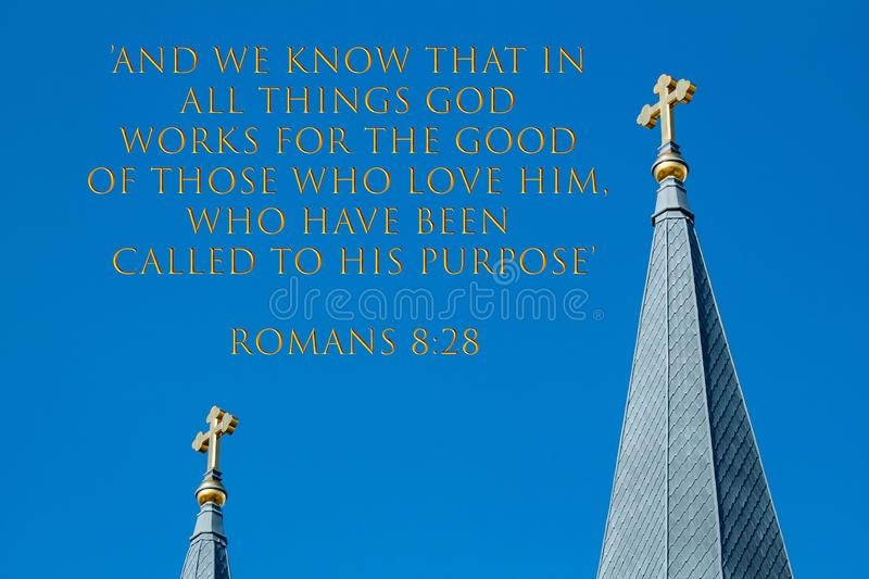 Verse, Romans 8:28, with Twin Golden Crosses in the Sky stock photo