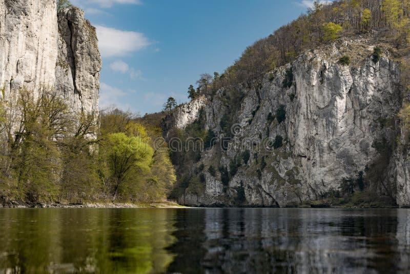 A breakthrough in the Danube in Kelheim in Germany. Here you can see a breakthrough in the Danube in Kelheim in Germany stock photography