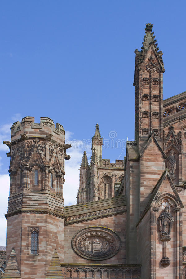 Hereford cathedral. A detail of the decorative outside of Hereford Cathedral royalty free stock photography