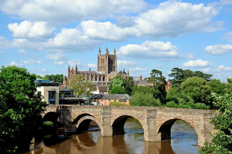 Hereford Cathedral and River Wye. View of the Cathedral with the Wye Bridge across the River Wye in the foreground, Hereford, Herefordshire, England, UK royalty free stock photography