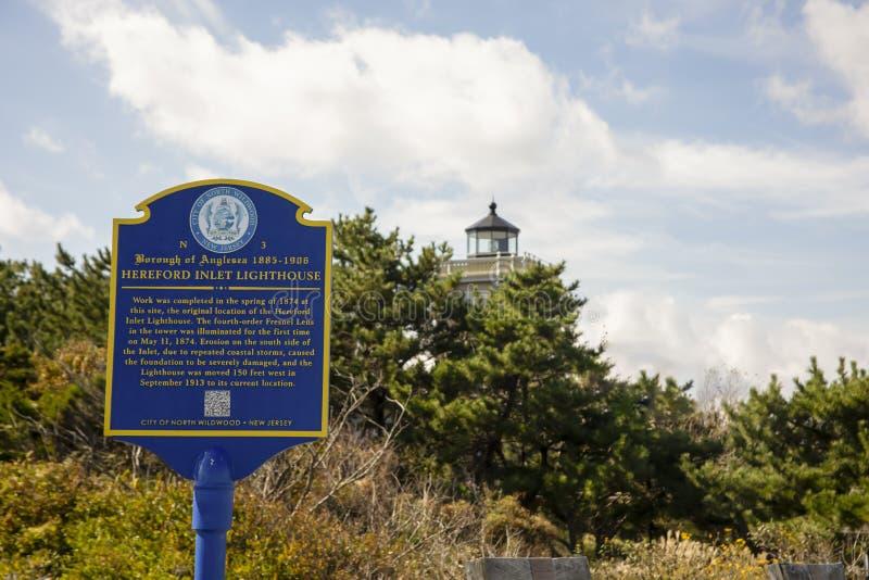Hereford Inlet Lighthouse - historisk markör arkivbild
