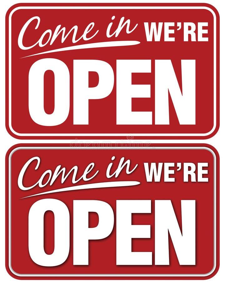 Hereingekommen sind wir geöffnet lizenzfreie abbildung