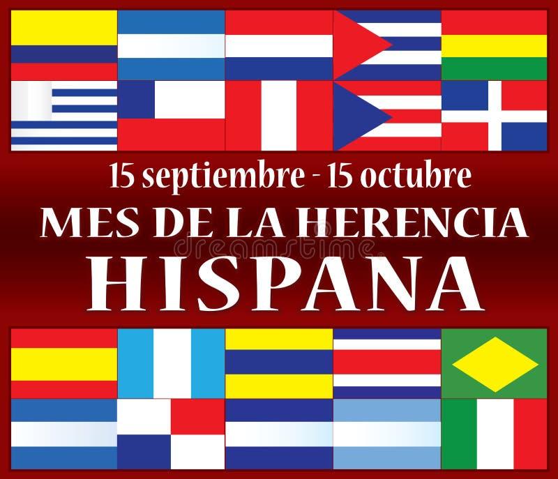Herencia mes 15 de septiembre hispánico - 15 de octubre libre illustration