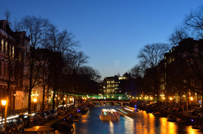 Herengracht, Amsterdam Lichte Festifal royalty-vrije stock afbeelding