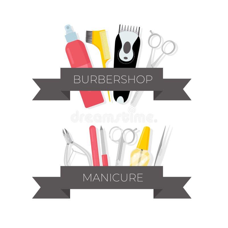 Herenkapper en manicure geplaatste hulpmiddelenillustraties stock illustratie