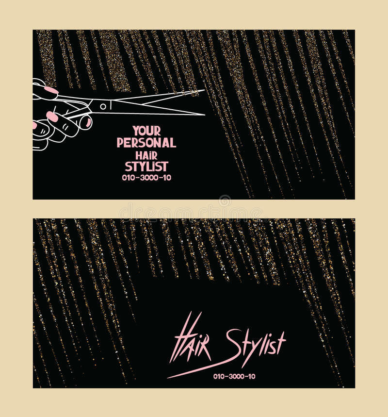 Herenkapperadreskaartjes met gouden geweven abstract haar vector illustratie