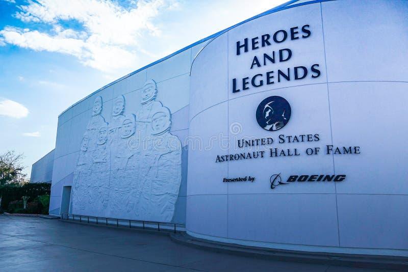 Hereos y leyendas que construyen, astronauta Hall de Estados Unidos de la fama imagenes de archivo
