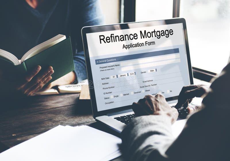 Herfinancier het Concept van het HypotheekAanvraagformulier royalty-vrije stock foto