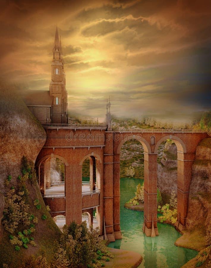 Herfst landschap met een kasteel royalty-vrije illustratie