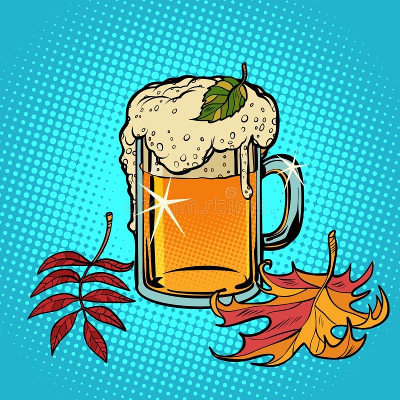 Herfst van bier de schuimende Oktoberfest stock illustratie