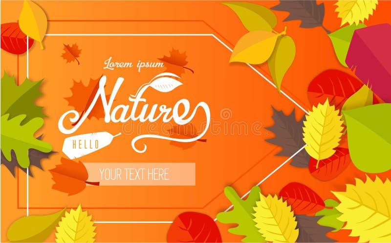 Herfstgroetkaart met bladeren stock foto