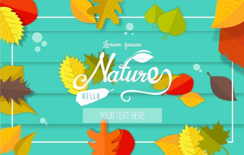Herfstgroetkaart met bladeren en water royalty-vrije stock foto