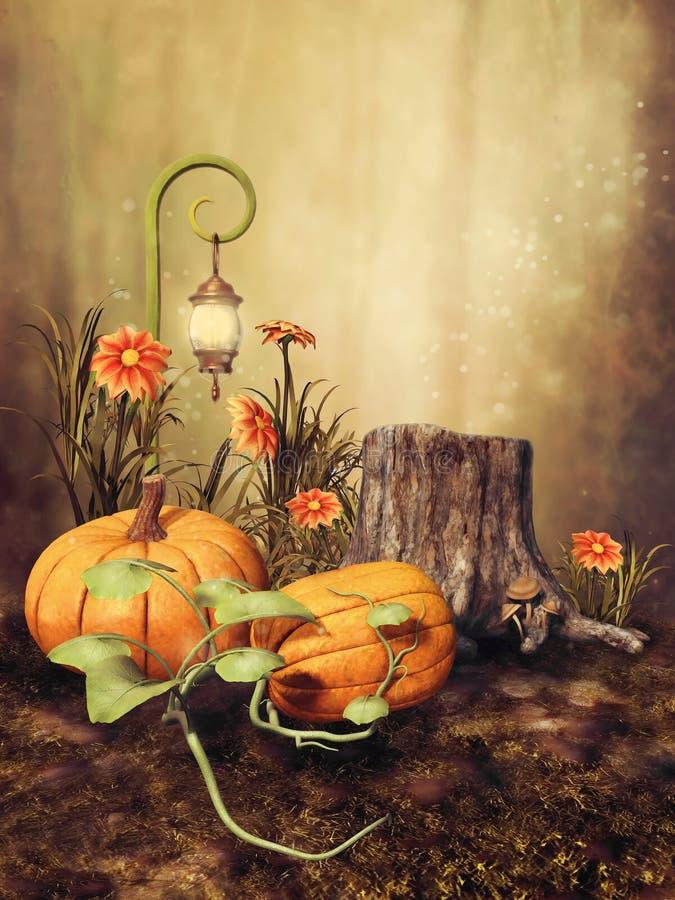 Herfstlandschap met pompoenen royalty-vrije illustratie
