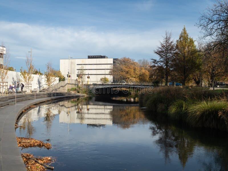 Herfstmening van de Rivier Avon in Christchurch, Nieuw Zeeland royalty-vrije stock fotografie
