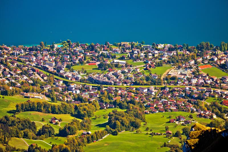 Hergiswil jeziora i wioski Luzern widok z lotu ptaka od góry Pilatus fotografia royalty free