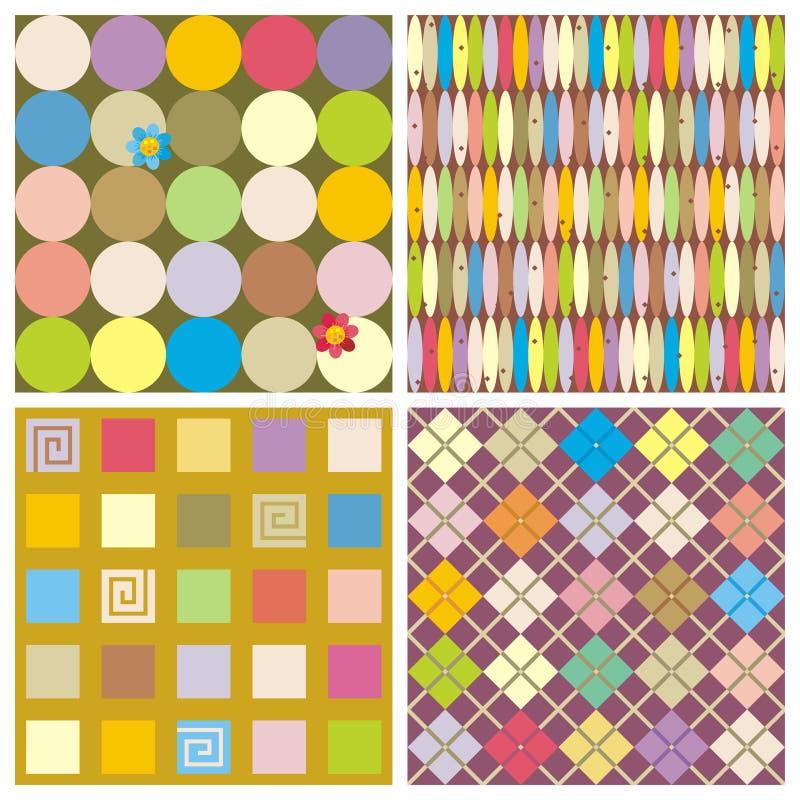 Herhaal patronen (naadloze achtergronden) stock illustratie