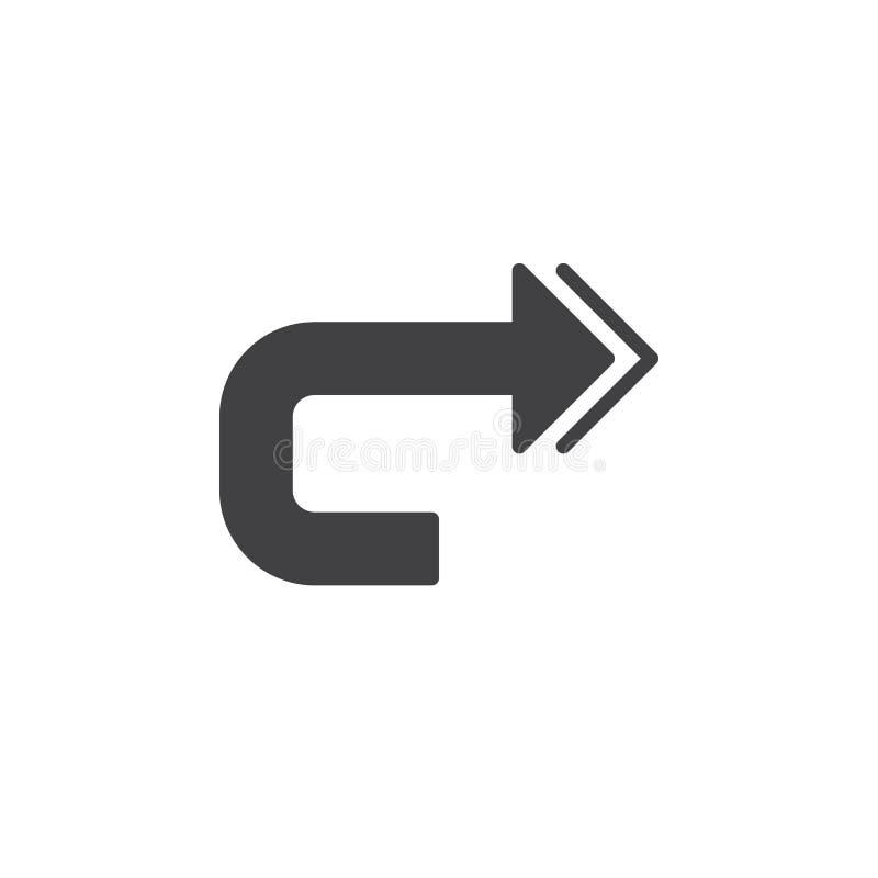 Herhaal pictogram vector, gevuld vlak teken, stevig die pictogram op wit wordt geïsoleerd vector illustratie