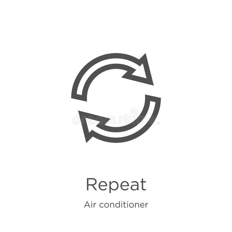 herhaal pictogramvector van airconditionerinzameling De dunne lijn herhaalt de vectorillustratie van het overzichtspictogram Het  vector illustratie