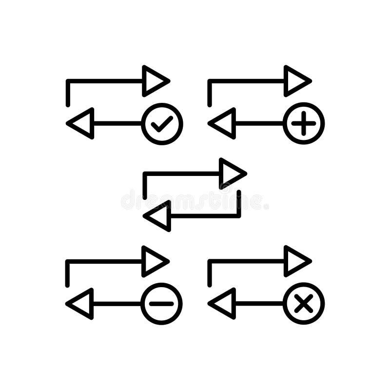 herhaal, plus, verwijder, minus, de pictogrammen van het controleteken Element van de pictogrammen van de overzichtsknoop Dun lij stock illustratie