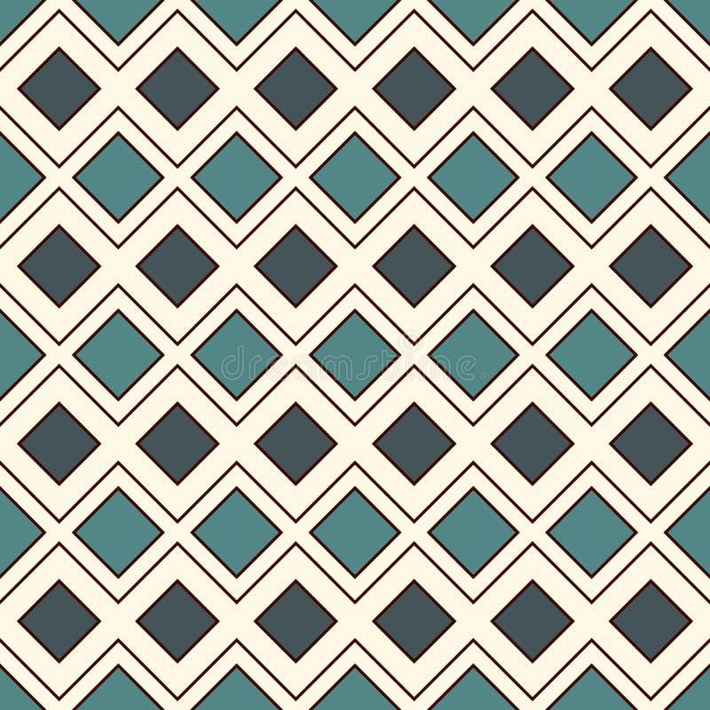 Herhaalde diamanten en lijnenachtergrond Etnisch behang Het naadloze ontwerp van het oppervlaktepatroon met ruitenornament royalty-vrije illustratie