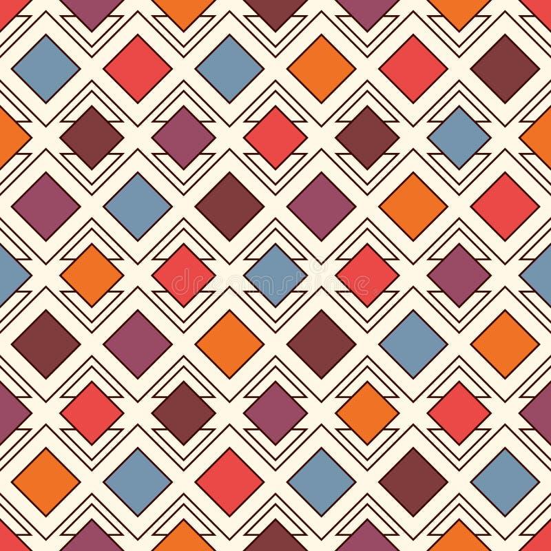 Herhaalde diamanten en lijnenachtergrond Geometrisch motief Naadloos oppervlaktepatroon met het heldere ornament van kleurenruite stock illustratie