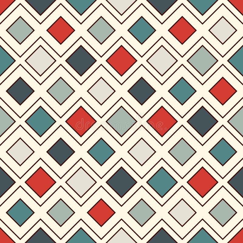 Herhaalde diamanten en lijnenachtergrond Geometrisch motief Naadloos oppervlaktepatroon met retro ornament van kleurenruiten vector illustratie