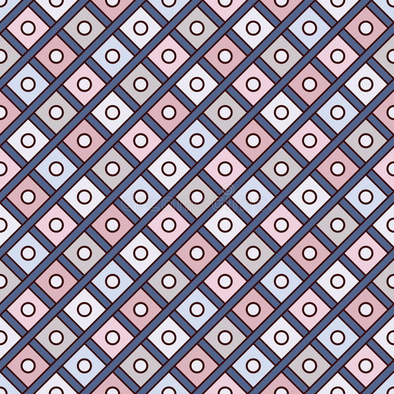 Herhaalde diamantenachtergrond Geometrisch motief Het naadloze ontwerp van het oppervlaktepatroon met pastelkleuren vierkant orna royalty-vrije illustratie