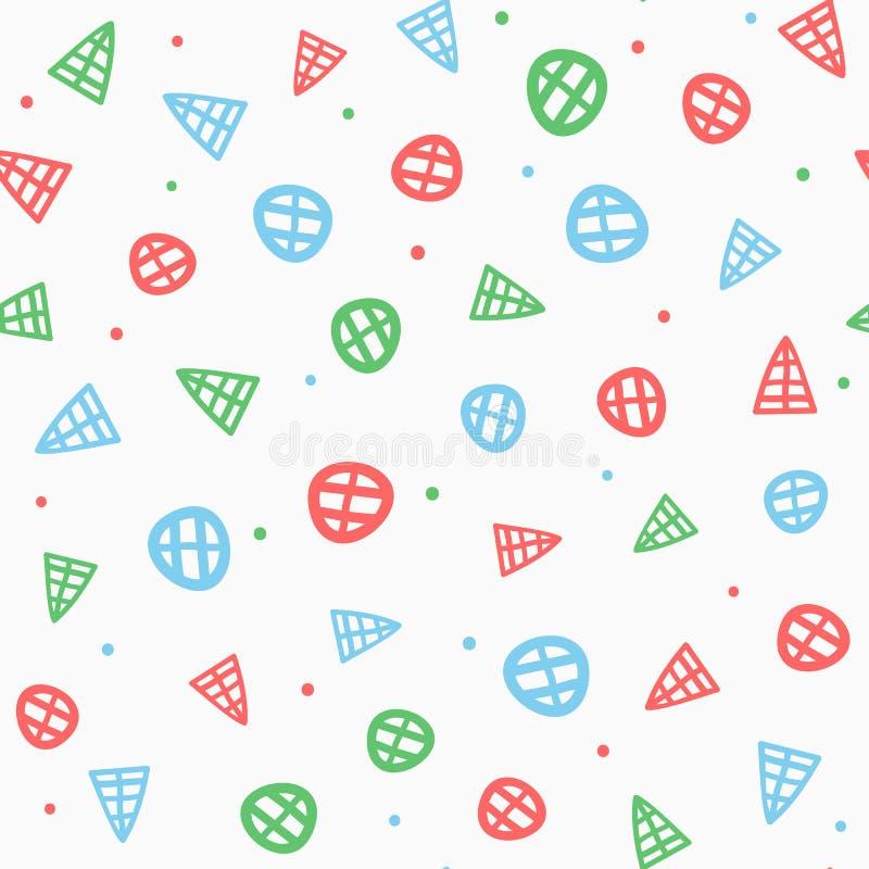 Herhaalde geometrische met de hand getrokken vormen geometrisch naadloos patroon royalty-vrije illustratie