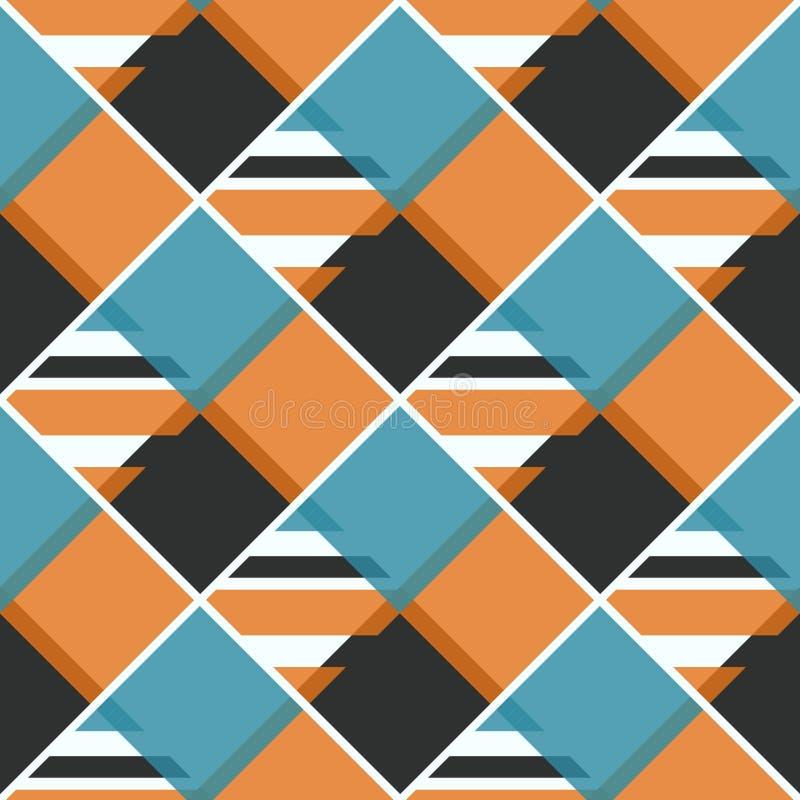 Herhaalde heldere diamantenachtergrond Geometrisch motief Het naadloze ontwerp van het oppervlaktepatroon met levendig kleuren vi royalty-vrije illustratie