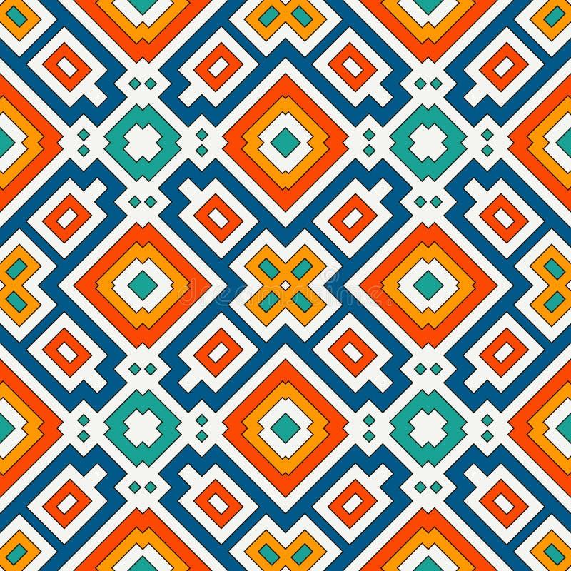 Herhaalde heldere diamantenachtergrond Geometrisch motief Naadloos patroon met levendig vierkant ornament Etnisch digitaal docume vector illustratie