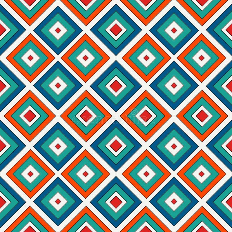 Herhaalde heldere diamantenachtergrond Geometrisch motief Naadloos patroon met levendig vierkant ornament Net digitaal document royalty-vrije illustratie