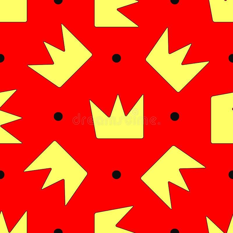 Herhaalde kronen en ronde vlekken Grappig naadloos patroon voor kinderen vector illustratie