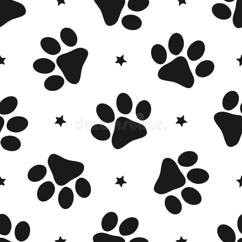 Herhaalde silhouetten van pootdrukken en sterren Naadloos patroon voor dieren vector illustratie