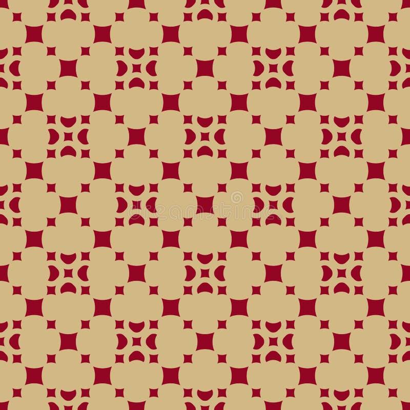 Herhaalt het luxe rode en gouden vector geometrische naadloze patroon met bloemencijfers, kleine vierkanten, diamantvormen, tegel vector illustratie