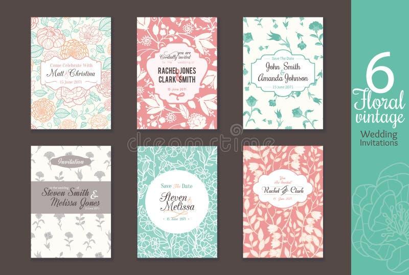 Herhaalt uitstekend bloemendiehuwelijk zes, sparen de kaart van datumuitnodigingen met bruid en bruidegomnamen, tekst wordt gepla stock illustratie