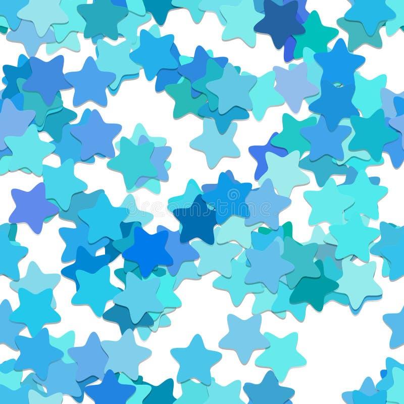 Herhalend de achtergrond van het sterpatroon - vectorontwerp van rond gemaakte pentagram sterren in lichtblauwe tonen met schaduw vector illustratie