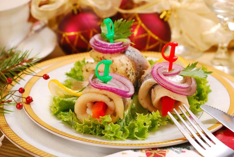 Heringe rollmops für Weihnachten lizenzfreies stockfoto
