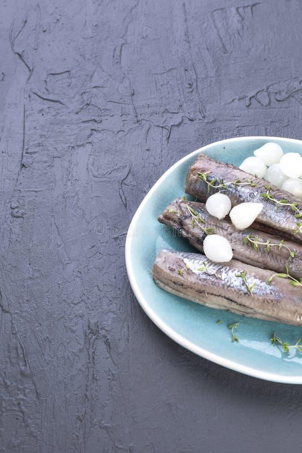Heringsfilets mit Zwiebeln auf einer blauen Platte, eine traditionelle niederländische Zartheit Köstliche Meeresfrüchtemahlzeit K lizenzfreies stockfoto