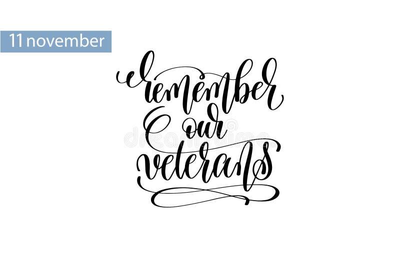 Herinner onze veteranenhand het van letters voorzien inschrijving aan 11 november vector illustratie