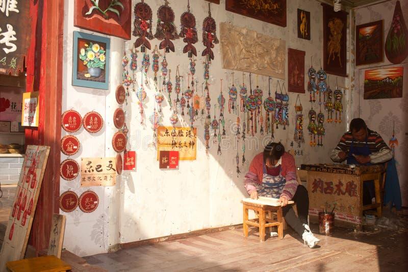 Herinneringen van hout van met de hand gemaakte winkel in de oude stad die van Dayan worden gemaakt. stock fotografie
