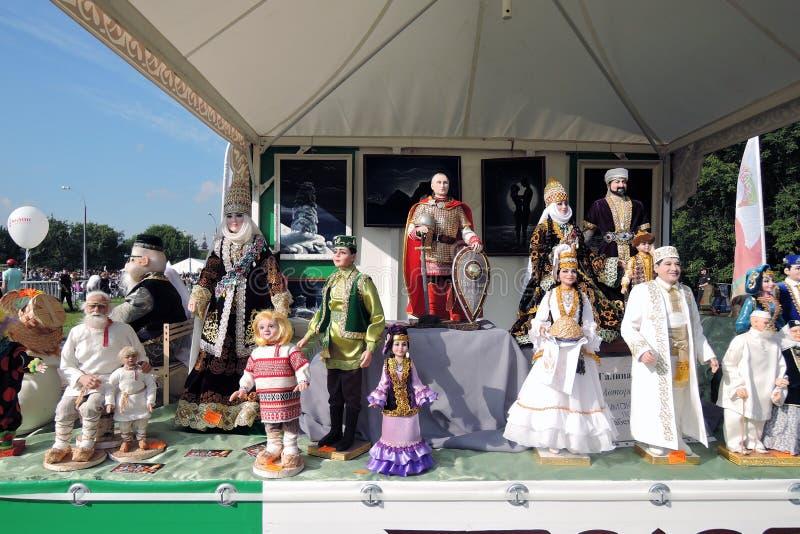 Herinneringen voor verkoop in Sabantui worden aangeboden die stock foto