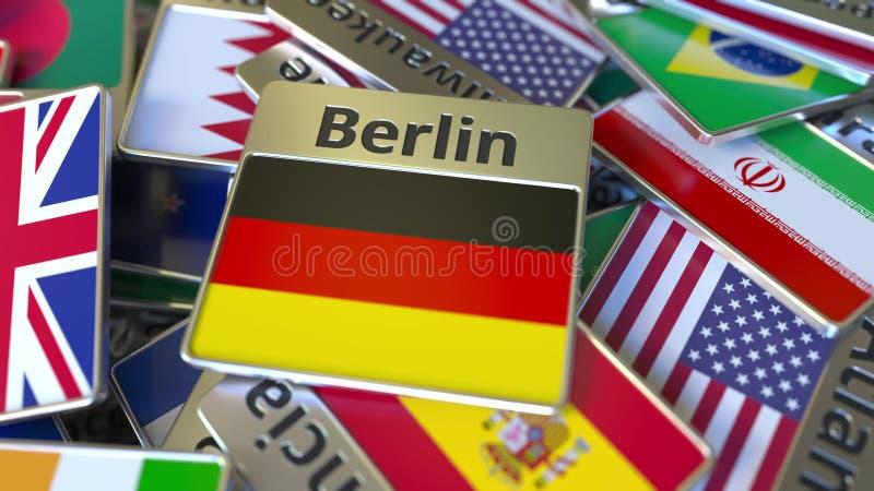 Herinneringsmagneet of kenteken met de tekst van Berlijn en nationale vlag onder verschillende degenen Het reizen naar conceptuel vector illustratie