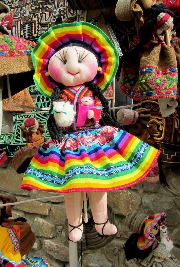 Herinneringspoppen in Boliviaanse nationale doek stock afbeeldingen