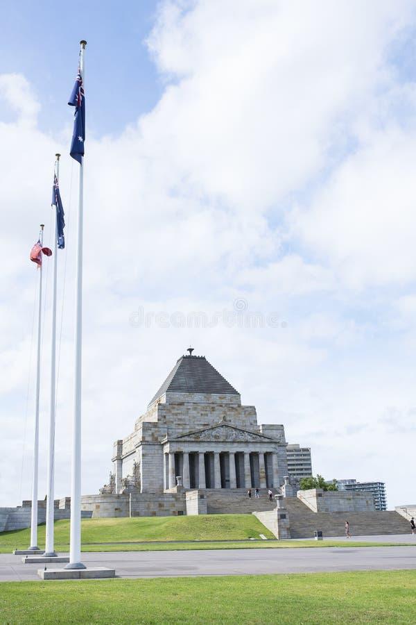Herinneringsvlaggen en Heiligdom van Herinnering, Melbourne, Asutralia stock afbeeldingen