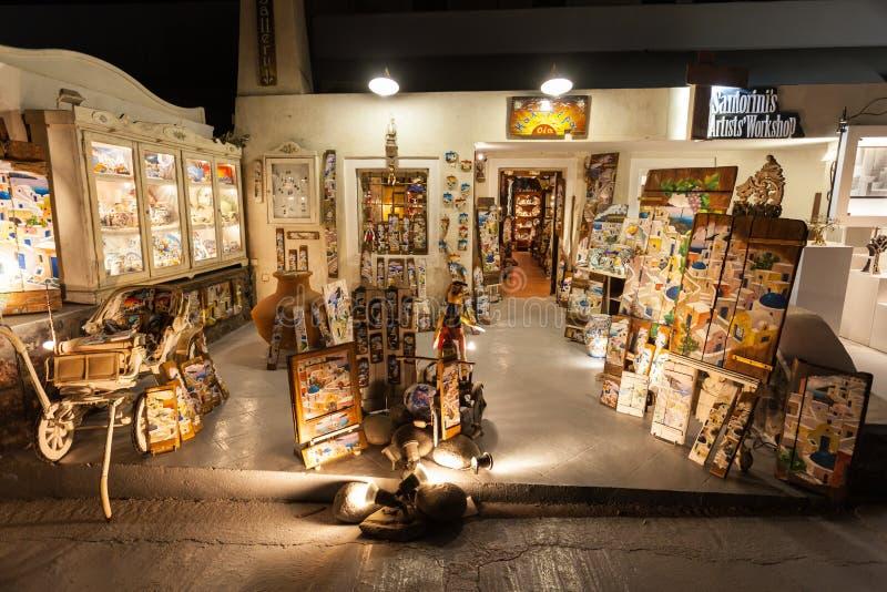Herinneringswinkel in Santorini stock foto's